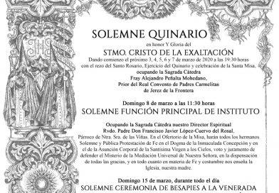 SOLEMNE QUINARIO EN HONOR Y GLORIA AL SANTÍSIMO CRISTO DE LA EXALTACIÓN