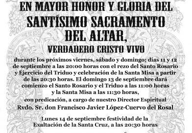 Solemne Triduo y Función Solemne en honor al Santísimo Sacramento del Altar y festividad de la Exaltación de la Cruz